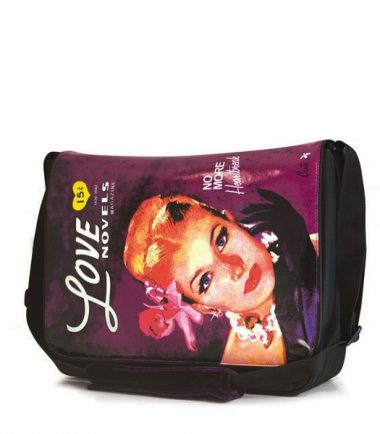 Maddie Powers Retro Laptop Messenger - Purple - Holds up to a 15.4 inch laptop