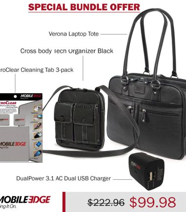 Bundle - Verona Laptop Tote plus Crossbody Tech Organizer, DualPower 3.1 AC Dual USB Charger, and MicroClear Three Pack