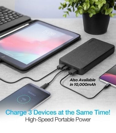 20,000mAh 18W PD+QC Fast Charge High-Capacity Fabric Power Bank