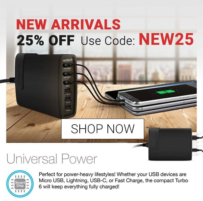 Shop New Arrivals - 25% off - Wall Charger Turbo 6 USB universal power